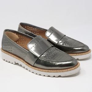 Halogen Silver Leather Loafers